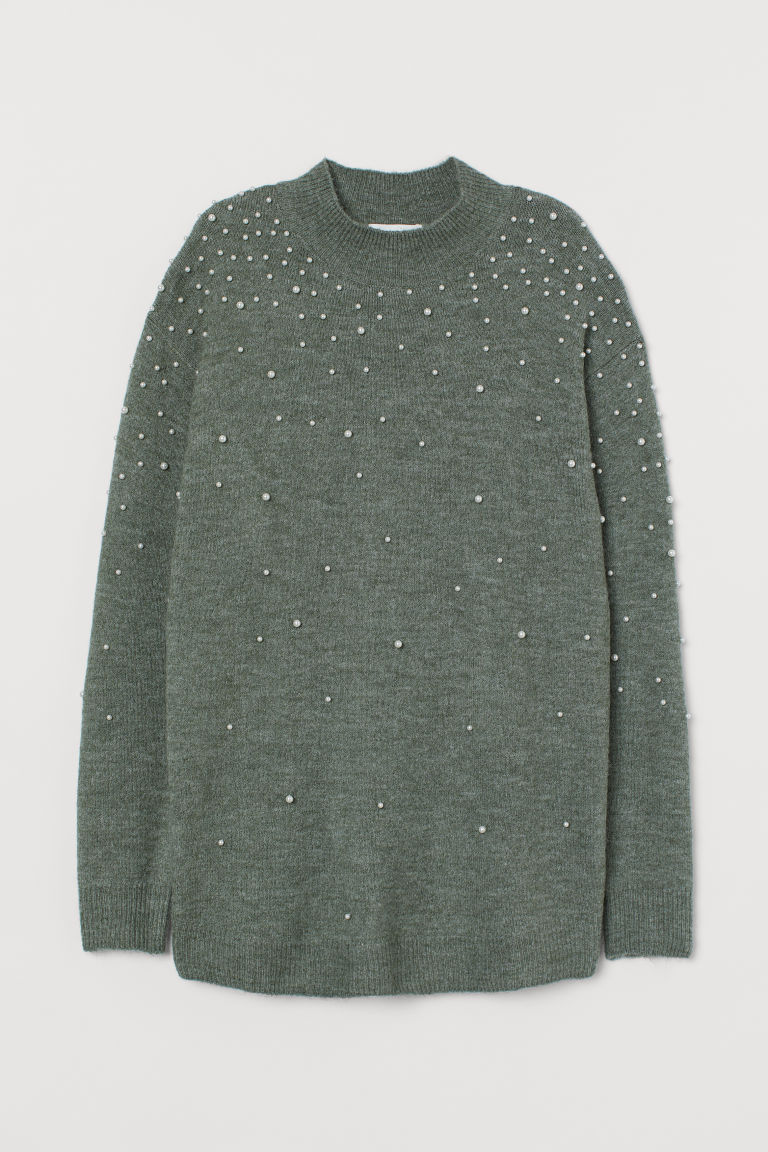 MAMA Sweater with Faux Pearls - Khaki green - Ladies | H&M US