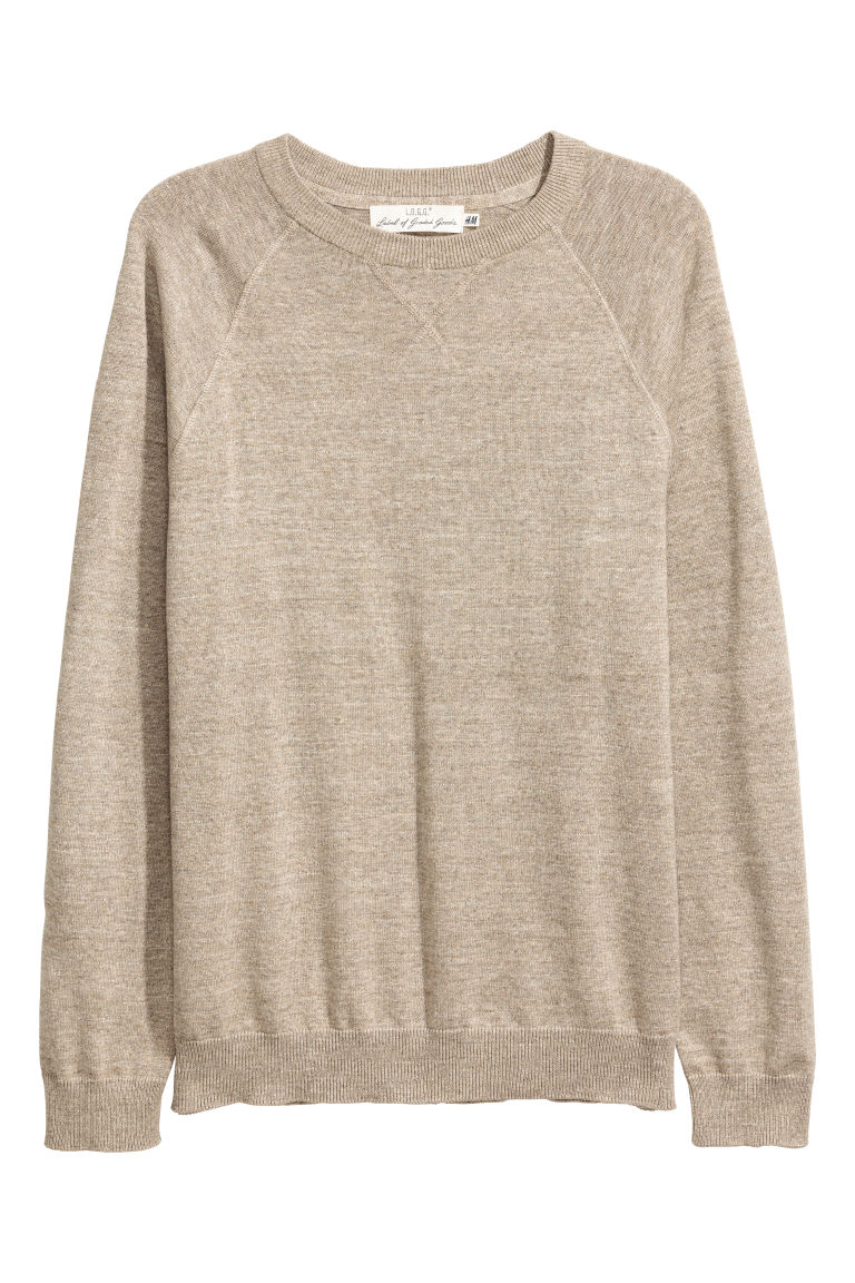 Fine-knit cotton jumper - Beige marl - Men | H&M CN