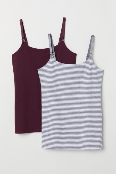 MAMA 2-pack nursing tops - Plum/Striped - Ladies | H&M CN