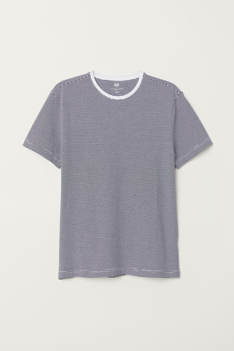 T-shirt girocollo Slim fit - Blu scuro/bianco righe - UOMO | H&M IT