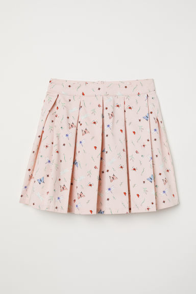 Pleated skirt - Powder pink/Insects - Ladies | H&M CN