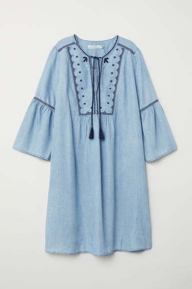 Lyocell denim tunic - Light blue/Embroidery -  | H&M