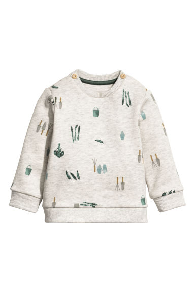 Printed sweatshirt - Light grey marl/Patterned - Kids | H&M CN