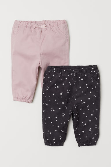 2-pack lined trousers - Grey/Pink - Kids | H&M