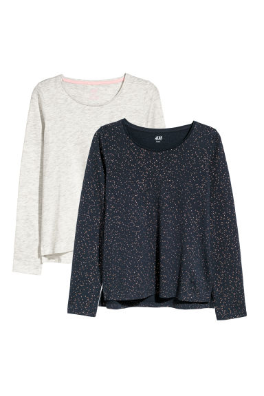 2-pack tops - Dark blue/Spotted - Kids | H&M CN