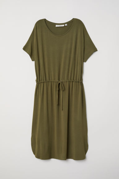 Jersey dress with a drawstring - Khaki green -  | H&M
