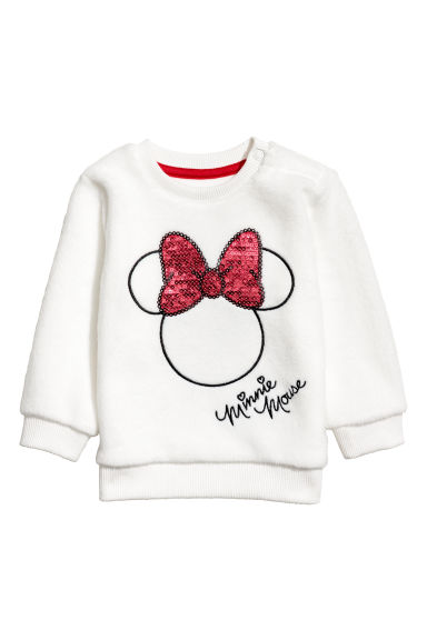 Fleece sweater - Wit/Minnie Mouse -  | H&M NL
