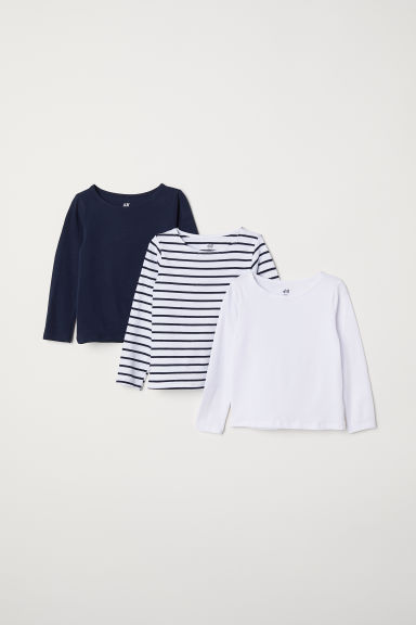 3-pack long-sleeved tops - White/Striped - Kids | H&M