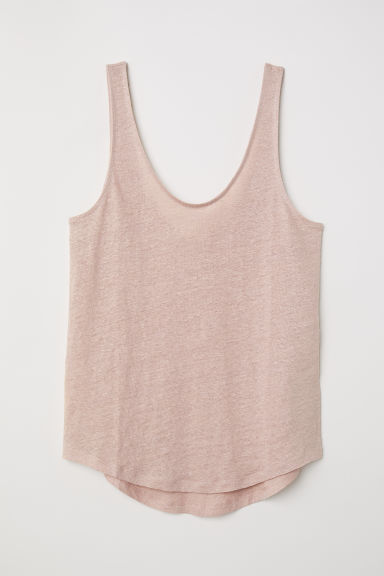 Linen jersey top - Powder pink - Ladies | H&M CN