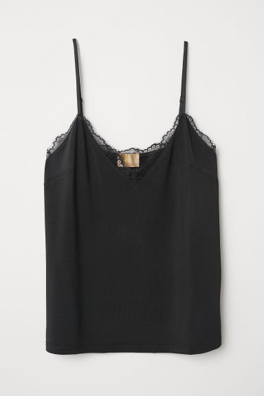 Top in jersey con pizzo - Nero - DONNA | H&M IT