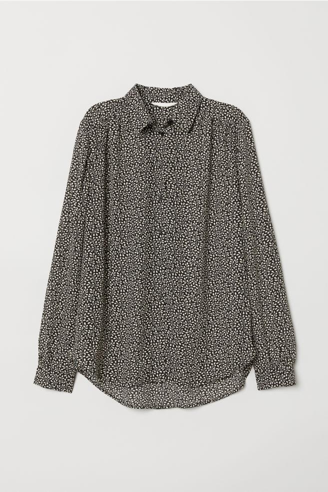 4eec1eac2f0b7e Long-sleeved blouse - Black Leaf-patterned - Ladies