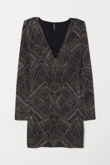 Glittery dress - Black/Patterned -  | H&M