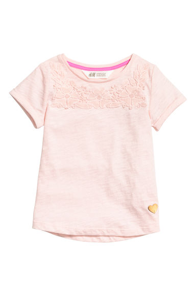 Short-sleeved top - Light pink/Lace - Kids | H&M