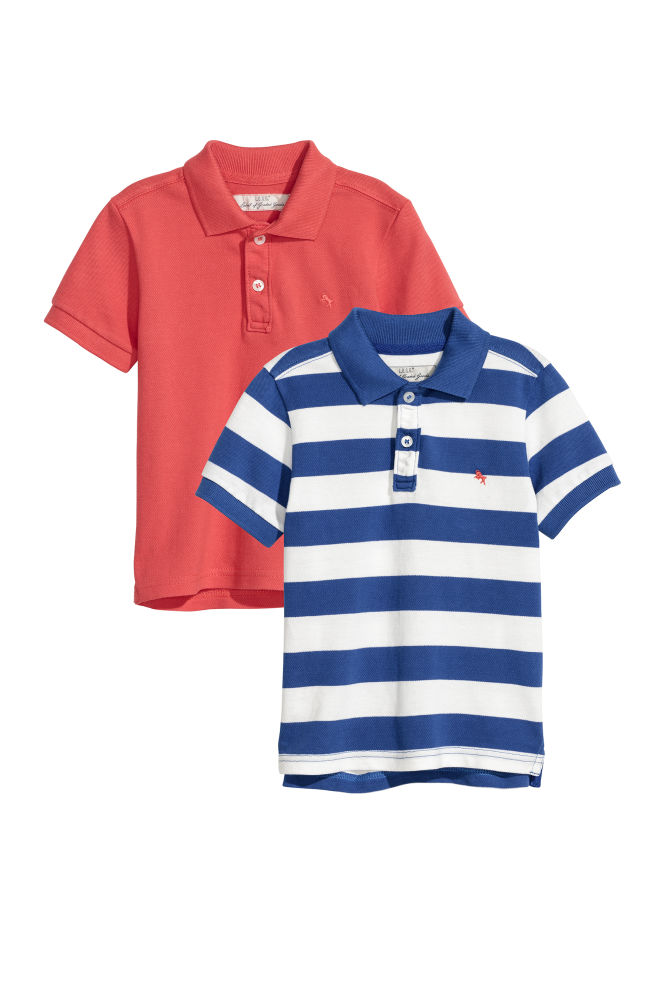 5e9ab3e9 2-pack Polo Shirts - Blue/white striped - Kids | H&M ...