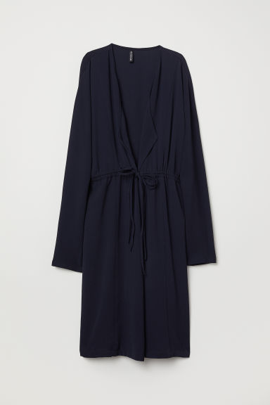Crêpe-weave coat - Dark blue - Ladies | H&M CN