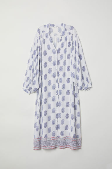 Button-front dress - White/Blue patterned - Ladies | H&M GB