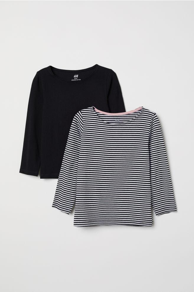 ed1c9581 2-pack Long-sleeved Tops - White/black striped - | H&M US