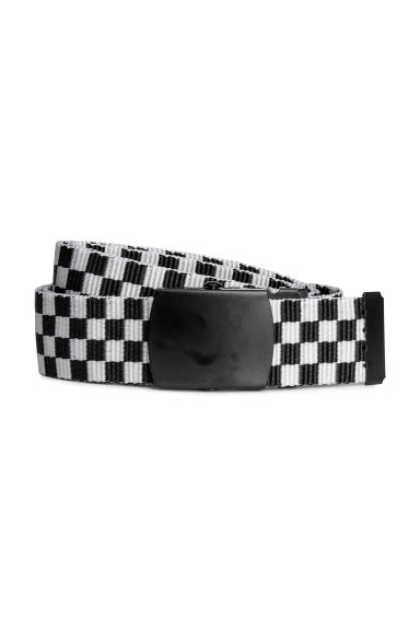 Fabric belt - White/Black checked - Men | H&M IE