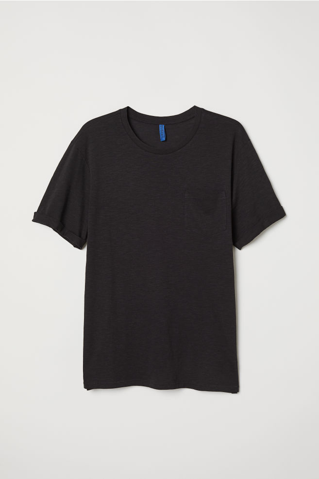 T-shirt with Chest Pocket - Black - Men  ccd81d97328