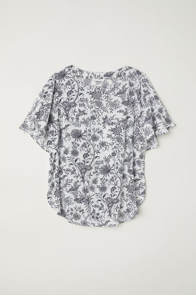 Trumpet-sleeved blouse - White/Black floral -  | H&M CN