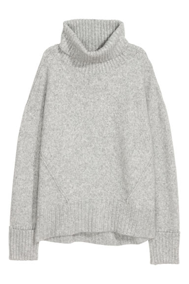 Knitted polo-neck jumper - Light grey - Ladies | H&M