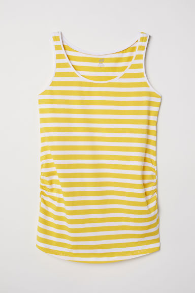 MAMA Jersey vest top - Yellow/White striped - Ladies | H&M CN