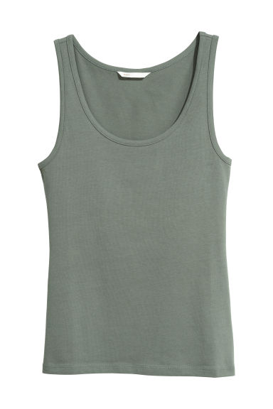 Jersey Tank Top - Khaki green - Ladies | H&M US