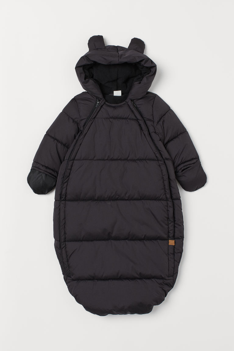 Padded footmuff with a hood - Black - Kids | H&M IN