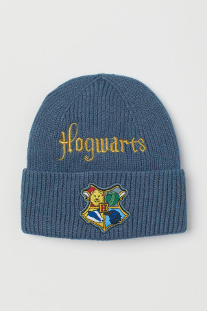 H&M 키즈 해리포터 비니 Appliqued Knit Hat,Blue/Hogwarts