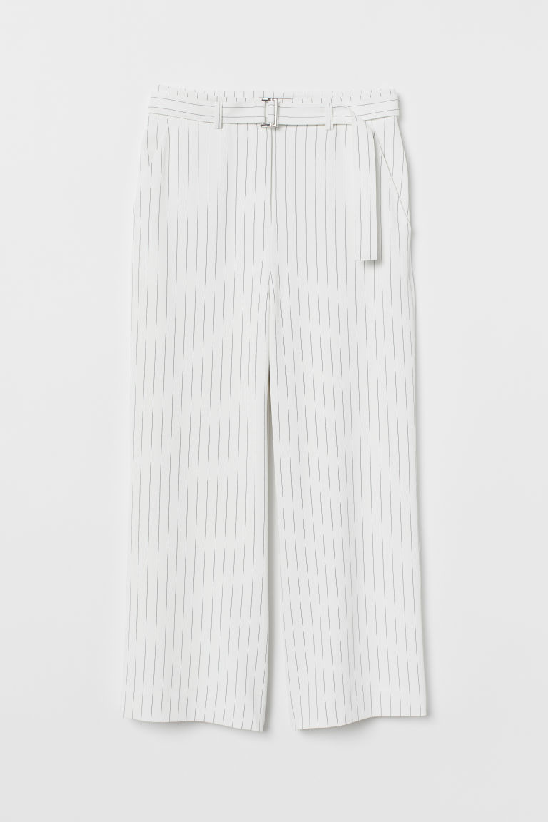 Wide-leg Pants with Belt - White/black striped - Ladies | H&M US