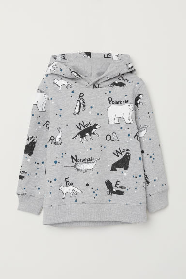 Printed hooded top - Grey marl/Animals - Kids | H&M