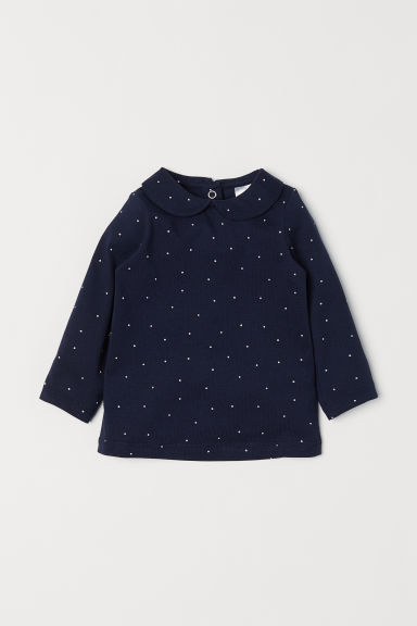Top with a collar - Dark blue/Spotted - Kids | H&M CN