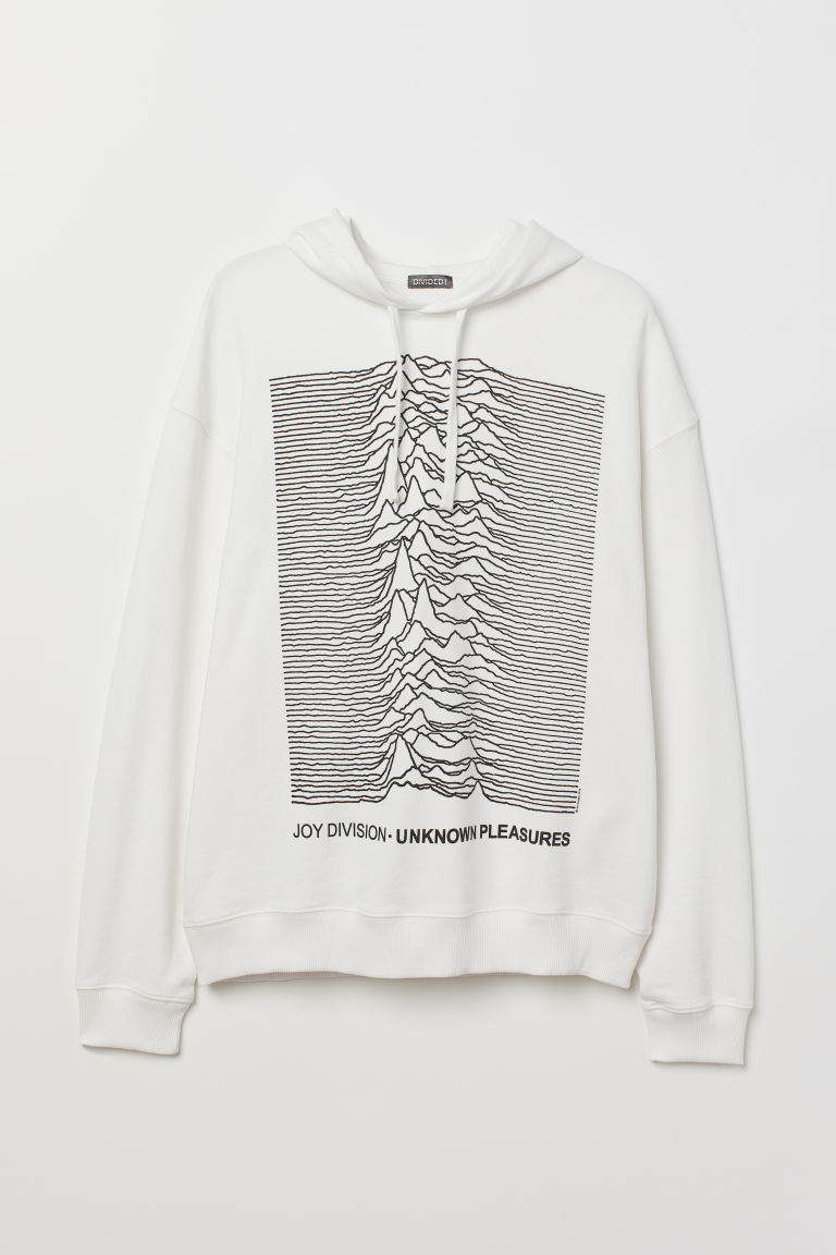 Printed hooded top - White/Joy Division -  | H&M