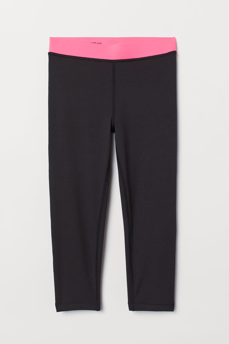 Leggings sportivi a 3/4 - Nero/rosa neon -  | H&M IT