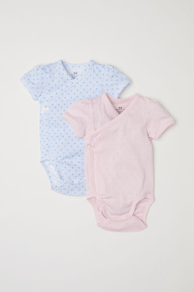 2-pack wrapover bodysuits - Light pink - Kids | H&M