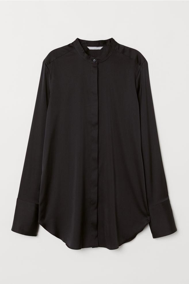 ef293a4407fdd49 Атласная блузка - Черный - Женщины | H&M ...