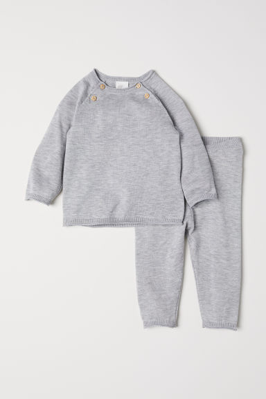 Silk-blend jumper and trousers - Light grey - Kids | H&M