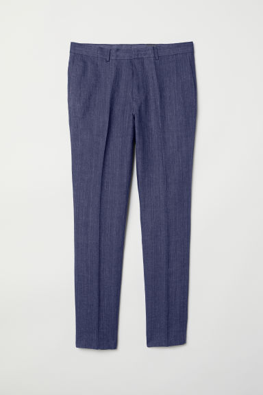 Linen suit trousers Slim fit - Dark blue marl - Men | H&M CN