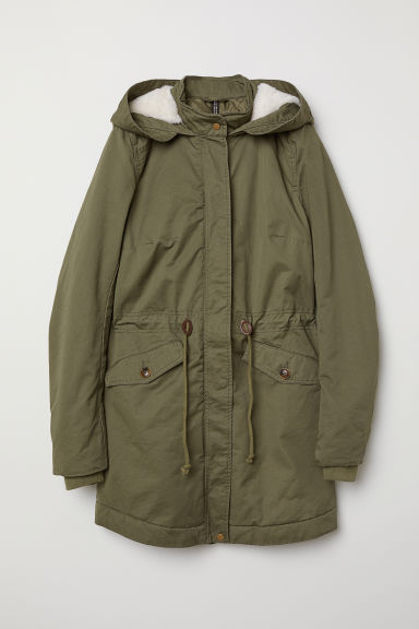 Padded parka with a hood - Dark khaki green - Ladies | H&M CN