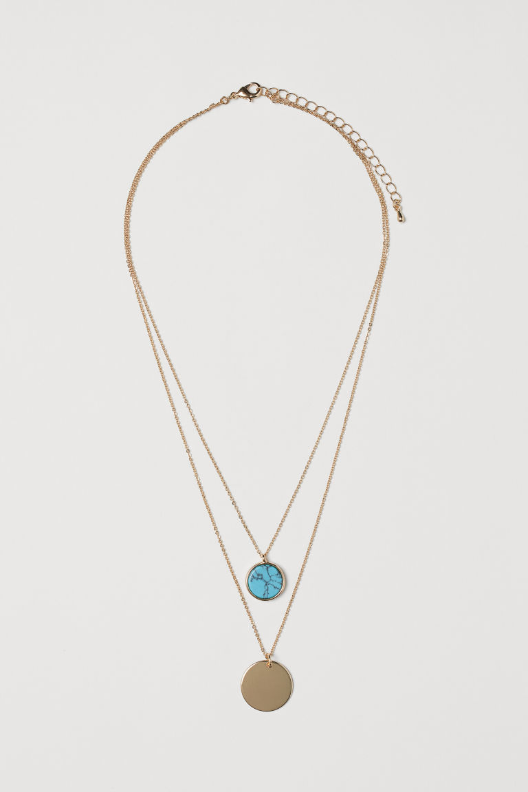 Two-strand necklace - Gold-coloured/Turquoise -  | H&M