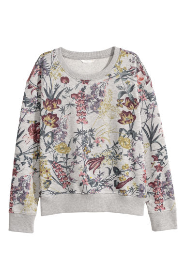 Short sweatshirt - Grey marl/Flowers -  | H&M