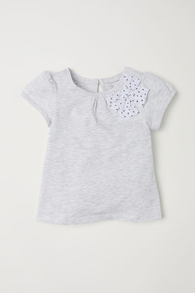 Jersey top with a bow - Light grey - Kids | H&M