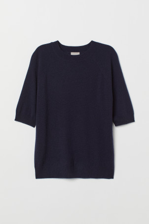Short-sleeved cashmere jumper