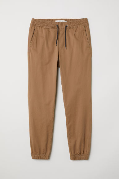 Brushed cotton twill joggers - Dark beige - Men | H&M