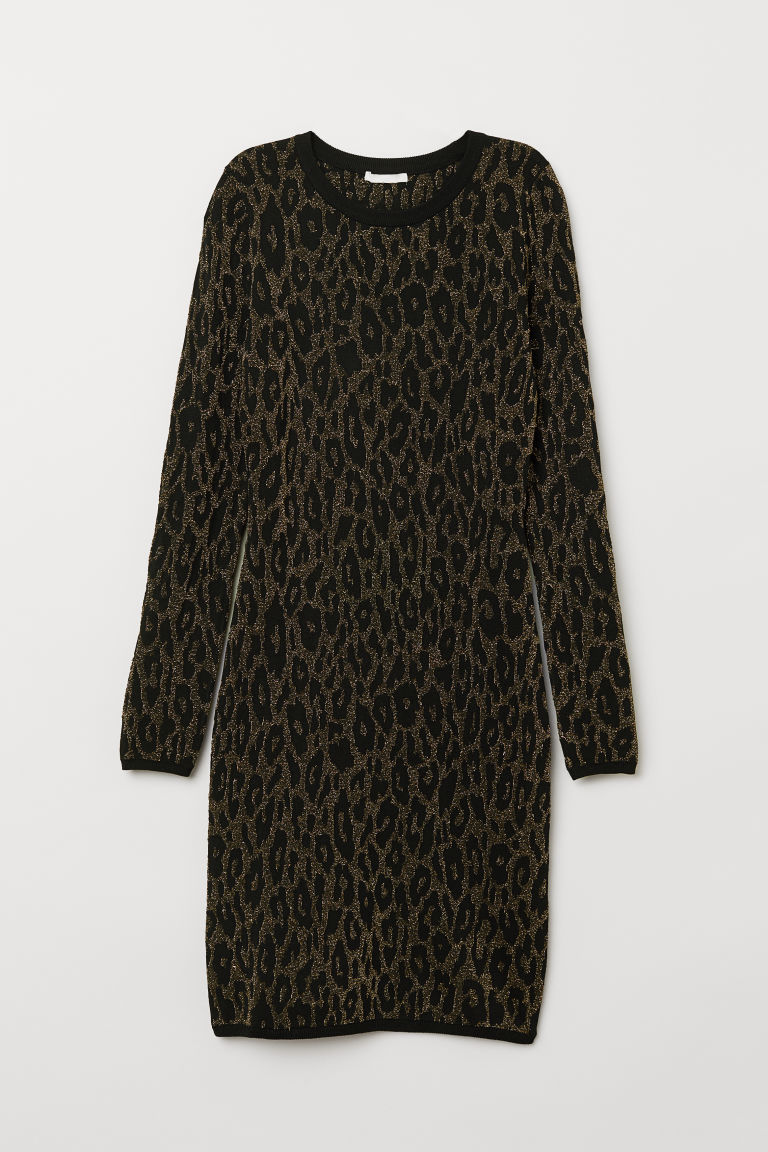 Jacquard-knit dress - Black/Leopard print - Ladies | H&M
