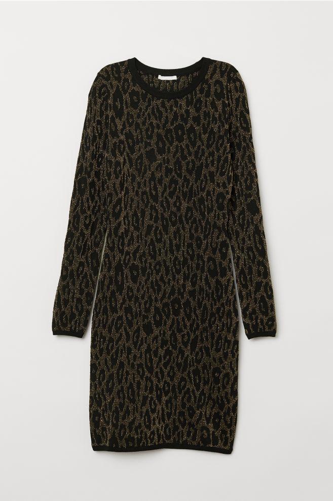 ... Vestido en punto de jacquard - Negro Estampado de leopardo - MUJER  84c277b0a3dc