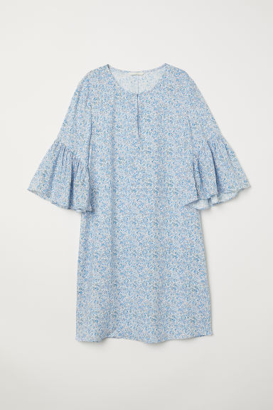 Flounce-sleeved dress - Light blue/Floral - Ladies | H&M CN