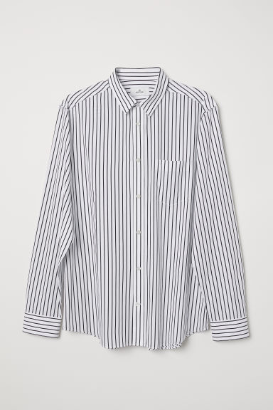 Poplin shirt - White/Black striped - Men | H&M CN