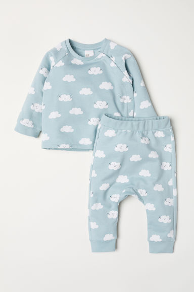 Top and trousers - Light turquoise/Cloud - Kids | H&M CN