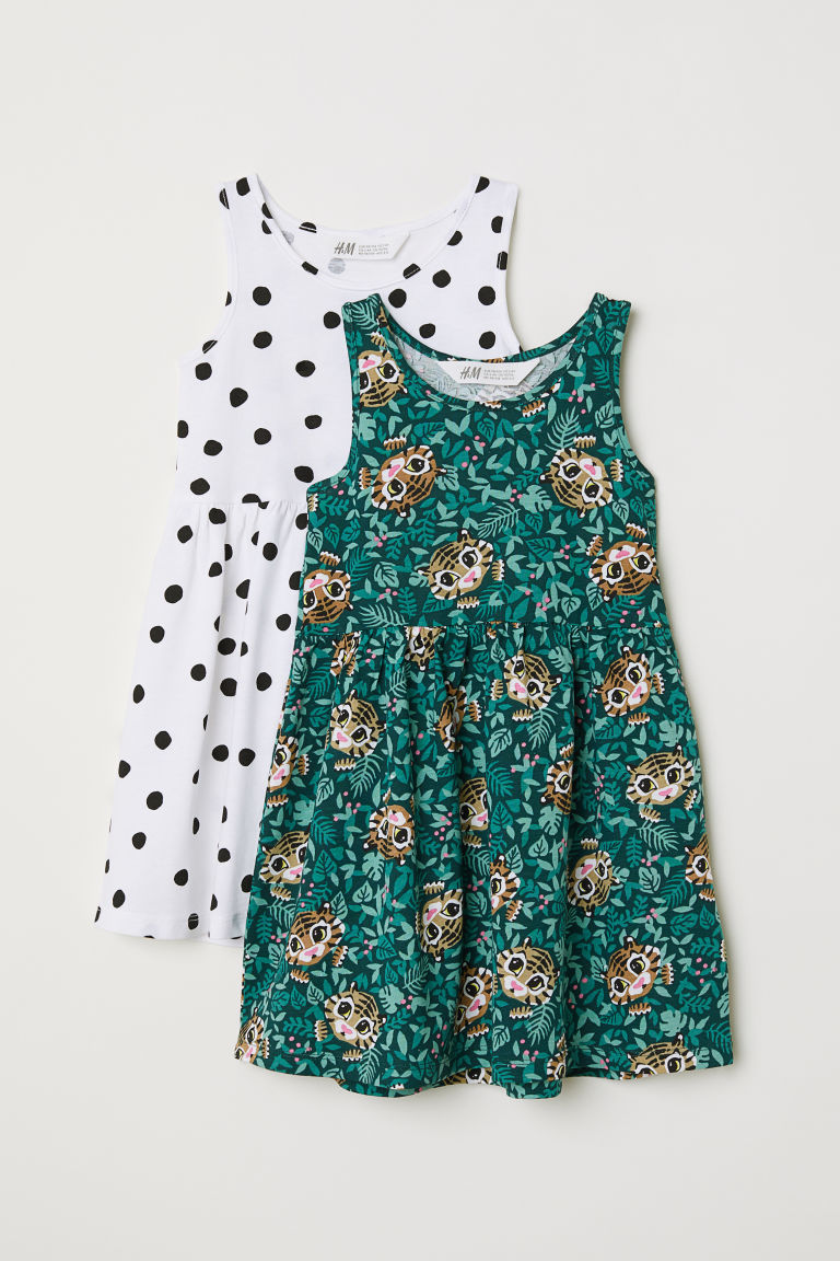 2-pack jersey dresses - Dark green/Spotted - Kids | H&M
